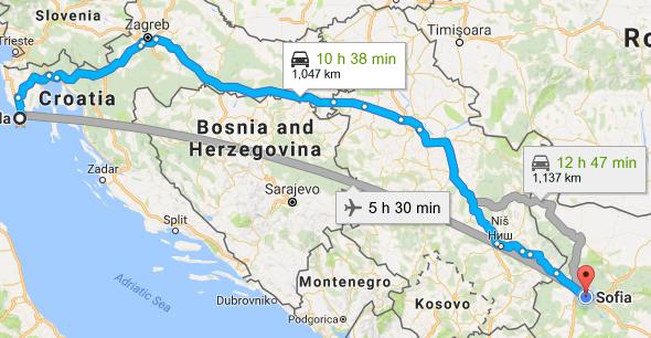 София - Пула (Хърватска) през Сърбия