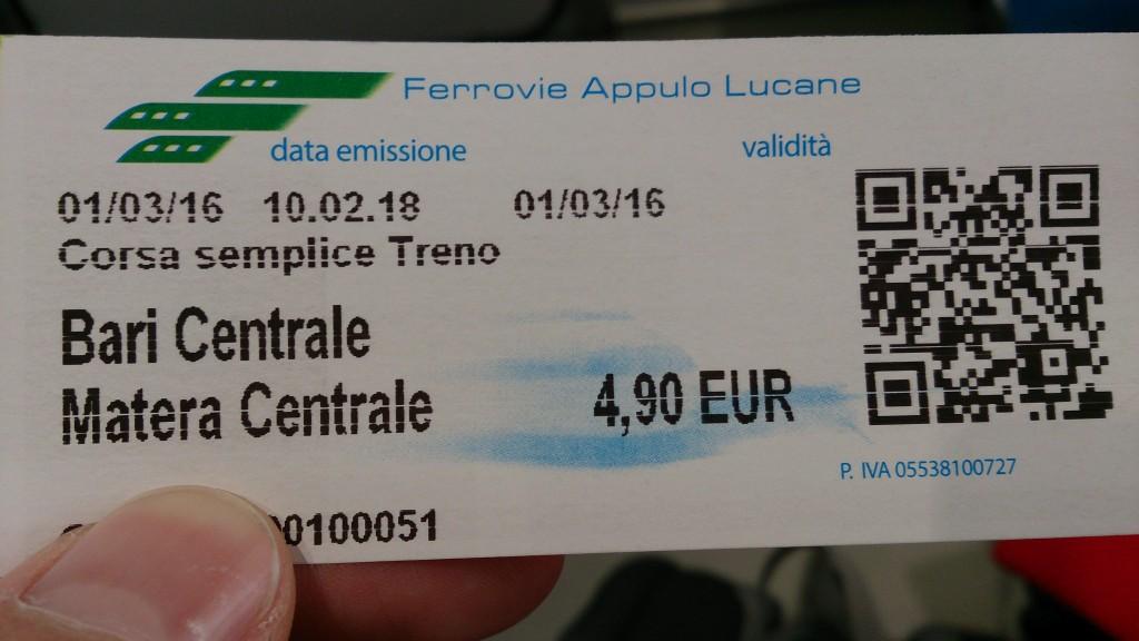 Билет за влак Бари - Матера
